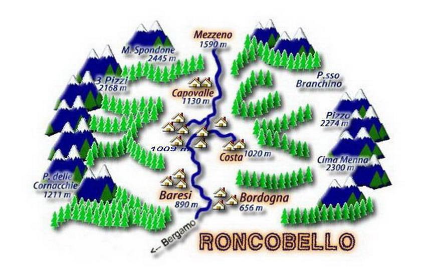 Frazioni Roncobello con altitudini